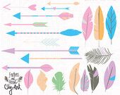 ClipArt Tribal Arrows and Feathers, Pastel, Feather Clipart, Arrow ClipArt, Chalkboard ClipArt,  HandDrawn illustration INSTANT download PNG...