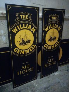Traditional pub signboards for The William Gemmell in Hull UK. Named after ship builders Cook, Welton and Gemmell of Hull and Beverley 1883 - 1963. #Signwriting #Signwriter #Pubsign