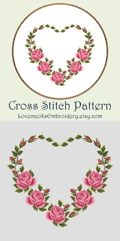 Thrilling Designing Your Own Cross Stitch Embroidery Patterns Ideas. Exhilarating Designing Your Own Cross Stitch Embroidery Patterns Ideas. Cross Stitch Heart, Simple Cross Stitch, Cross Stitch Borders, Cross Stitching, Cross Stitch Embroidery, Easy Cross, Pattern Floral, Floral Embroidery Patterns, Flower Patterns