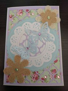 A6 butterfly greeting card with crystal embellishments