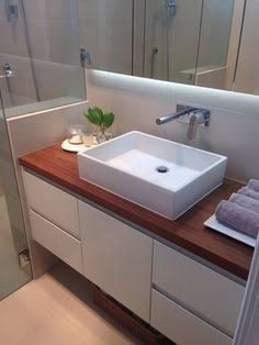 Ensuite bathroom with reclaimed timber vanity top and custom vanity (bathroom vanity organization apartments) Vanity Tops With Sink, Bathroom Vanity Tops, Laundry In Bathroom, Downstairs Cloakroom, Ikea Bathroom, Bathroom Ideas, Timber Vanity, Wood Vanity, Vanity Cabinet