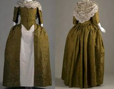 Wedding Dress, ca.1770, American Colonies, Green brown silk brocade. Low square neckline and elbow-length sleeves. No accompanying underskirt. homespun linen lining of this gown was taken and scraped into lint and used for dressing wounds of the American Revolutionary War soldiers in the year 1776. (Transcribed from information sewn onto dress.) Chicago History Museum