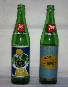 Pair of NOTRE DAME FOOTBALL 7-UP BOTTLES-1973, 1977 National Champions-Book Ends Irish Fans, Go Irish, Lou Holtz, Irish Catholic, Notre Dame Football, Fighting Irish, Football Players, Champion, Bottles
