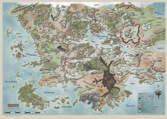 The new land of Faerun from the Forgotten Realms Dungeons and Dragons campaign setting, after the Spellplague Dnd World Map, Fantasy World Map, Forgotten Realms, Dungeons And Dragons, Drizzt Do Urden, Imaginary Maps, Rpg Map, O Hobbit, Dungeon Maps