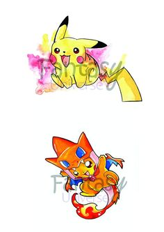 Pikazard e Pikachu - stampe colorate A4. by FantasyUniverseShop on Etsy