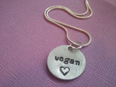 Vegan necklace Hand stamped Vegan Love by JessicaElyJewelry, $12.50