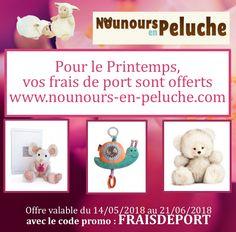 Code promo : FRAISDEPORT  frais de port offert sur tout le site  www.nounours-en-peluche.com  jusqu'au 21/06/2018