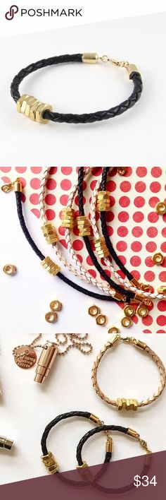 "Honeybee Bracelet - Black This beautiful ""Honeybee"" bracelet provides 7 meals for children in need! The leather and hex nuts represent farming tools used to grow healthy foods, worldwide! Represent your fight for hunger with this bracelet.  Handmade in NC USA. Black color woven leather with brass hex nuts. Custom made end caps and lobster clasp plated in gold. 7"" from clasp to clasp.   No trades. Ships M to F. Add to Bundle to save! Xo, Instagram @dasrozo for mommy and mini fashion…"