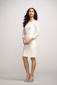 Short Wedding Dresses : chic ivory boat neck lace little white knee length bridesmaid dress with sleeves. For Becks wedding in sage. Knee Length Bridesmaid Dresses, Lace Bridesmaid Dresses, Lace Dresses, Prom Dresses, Dresses 2014, Summer Dresses, Winter Dresses, Bridal Gowns, Wedding Gowns