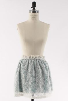 French Patisserie Paperbag Waist Lace A-Line Skirt in Jade | Sincerely Sweet Boutique