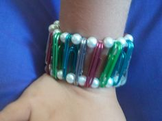 Paper clips and pearls.  Fun little bracelet $5