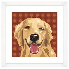 One Kings Lane - Art - White Framed Retriever Dog Print