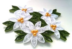 Poinsettia Christmas Ornament Paper Quilled White