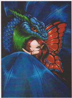 Fantasy Art Dragon Fairy Print original painting by ArtByNicoNiemi