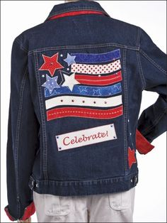 Celebrate Denim Jacket, Patriotic & 4th of July Crafts...love this!