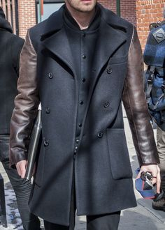 leather sleeve wool trench. layered coat.