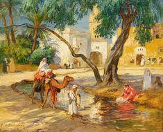 Algeria-A View of an Algerian Village by Frederick Arthur Bridgman