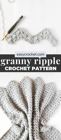 Quick Crochet Blanket, Crochet Ripple Afghan, Easy Crochet Stitches, Crochet Granny, Chevron Crochet Blankets, Crochet Patterns For Blankets, Easy Crochet Afghan Patterns, Crochet Ideas, Crocheted Baby Blankets