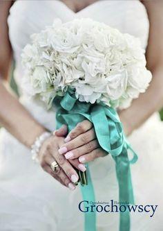 bukiet  ślubny białe hortensje człuchów