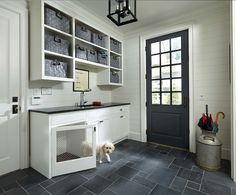 Mudroom with dog house