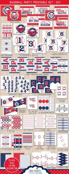 Baseball Party Printable  Baseball Birthday  por AmandasPartiesToGo, $29.50
