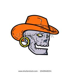 Mono line illustration of a pirate skull wearing a cowboy hat and earring looking to side on isolated background done in monoline style. Pirate Skull, Line Illustration, Demons, Cowboy Hats, Disney Characters, Fictional Characters, Royalty Free Stock Photos, Pictures, Image