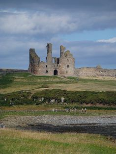 Dunstanburgh Castle stands on a remote headland in Northumberland, England. Dunstanburgh Castle, Northumberland England, Scottish Castles, Entry Gates, Beautiful Castles, Palaces, Northern Ireland, Abandoned Places, Monuments