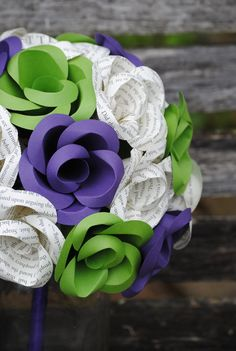 Custom BOOK Wedding Bouquets. You Pick The Colors, Paper, Etc.  Anything Is Possible. CUSTOM Orders Welcome. by TreeTownPaper on Etsy