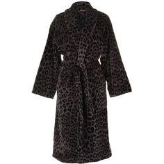 Roberto Cavalli Leo Shawl Bathrobe - 003 (304,025 KRW) ❤ liked on Polyvore featuring intimates, robes, cotton wrap robe, patterned robes, roberto cavalli, long cotton robe and long robe