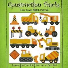 Construction trucks cross stitch contains 11 elements for your transportation themed projects.      Mini Cross Stitch Pattern: Contruction Trucks Sampler     Design Source: Revi Devi