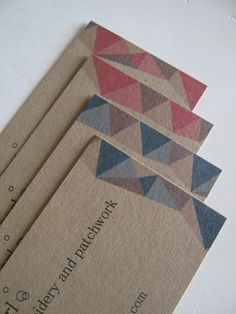 Kraft paper postcards on 100 recycled paper soy inks green custom kraft brown business cards with patchwork triangles in pink and brown set of 300 reheart Image collections