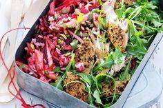 Kijk wat een lekker recept ik heb gevonden op Allerhande! Risosalade met makreel, rode biet & rucola