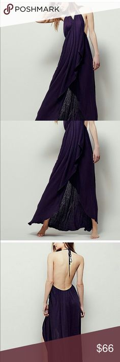 Free people eternal wrap maxi Never worn! Gorgeous huckleberry color! Amazing wrap dress to throw over a bikini or rock to dinner. Got it for a photo shoot as I thought it might work as I'm pregnant, but decided on something else. My gain is your gain..haha. Price firm Free People Dresses Backless