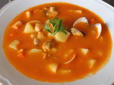 Sopa de Marisco, facil y economica - Yo, yo misma y mis cosas Fish Stew, Churros, Thai Red Curry, Tapas, Seafood, Fruit, Vegetables, Cooking, Ethnic Recipes