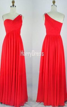 Red Empire One Shoulder Chiffon Floor Length Crystal Brooch Long Prom Dress