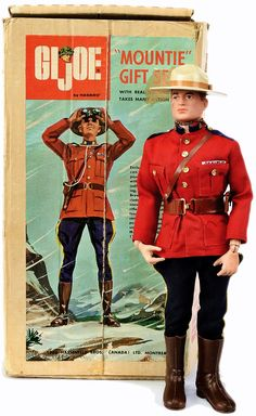 """12"""" vinyl G.I. Joe Mountie Gift Set (no. 5904) with box, a very rare Simpsons-Sears department store exclusive gift set never made available in the United States and only produced for a single year, Canada, 1967, by Hasbro (Hassenfield Bros. Canada Ltd)."""