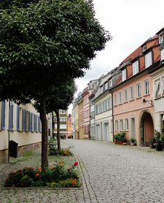 Schweinfurt, Germany, Bavaria, town street, cobble stones,