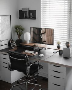 Home Office Setup, Home Office Space, Home Office Design, White Desk Setup, Workspace Desk, Imac Desk, Bedroom Setup, Gaming Room Setup, Workspace Inspiration