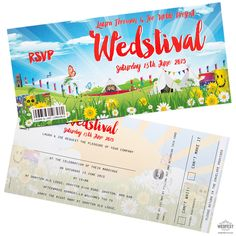 wedstival wedding festival invite tickets http://www.wedfest.co/wedding-invitations-and-wristbands-for-music-festival-fans/