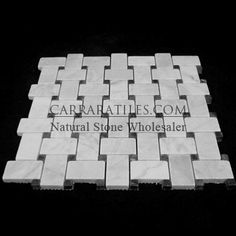 Carrara Marble Italian White Bianco Carrera Basketweave Mosaic Tile with Nero Marquina Black Dots Honed