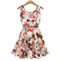 Stylish Scoop Collar Sleeveless Floral Print A-Line Chiffon Women's Dress   TwinkleDeals.com