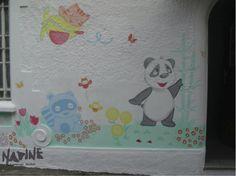 Arte para fachada de escola maternal -  Tema: Jardim Feito em tinta acrílica para parede e pigmento.