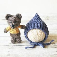 bff72154c16 Crochet Pixie Bonnet Hat Beanie Teddy Bear Stuffie Set Infant Newborn Baby  Toddler Child Handmade Photography Photo Prop Baby Shower Gift