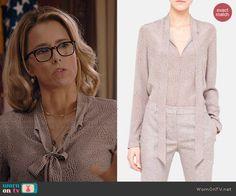 Elizabeth's printed neck tie blouse on Madam Secretary.  Outfit Details: http://wornontv.net/39714/ #MadamSecretary