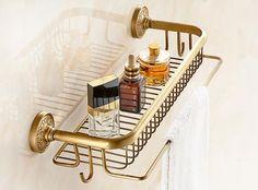 Brass Bathroom Fixtures, Bath Shelf, Copper Art, Bathroom Styling, Small Bathroom, Bathrooms, Bath Caddy, Bathroom Accessories, Retro Fashion