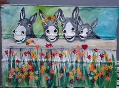 donkey family for garden on sink by Wilma Potgieter fb Funny Paintings, Animal Paintings, Watercolor Animals, Watercolor Art, Donkey Drawing, Flower Canvas, Pallet Art, Dot Painting, Art Day