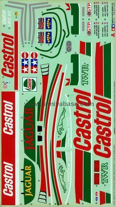 Tamiya 58092 Jaguar Daytona Winner - This is how the original Jaguar Daytona Winner decal looked like. Above image is sheet A. Below image is sheet B. Slot Car Racing, Slot Car Tracks, Slot Cars, Car Stickers, Car Decals, Matchbox Crafts, Xjr, Retro Logos, Vintage Race Car