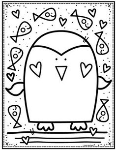 Penguin Coloring Page Coloring Club — From the Pond Penguin Coloring Pages, Valentine Coloring Pages, Cute Coloring Pages, Flower Coloring Pages, Printable Coloring Pages, Coloring Pages For Kids, Coloring Sheets, Adult Coloring, Coloring Books
