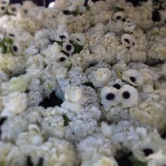 Sea of white of white flowers featuring blue eyed anemones and reflexed roses.