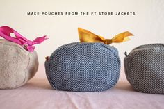 diy pouch from thrift store jackets Diy Trousse, Diy Pochette, Fabric Crafts, Sewing Crafts, Sewing Projects, Diy Projects, Sewing Hacks, Sewing Tutorials, Sewing Patterns